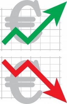 Два символа евро с восходящим и нисходящим графиком