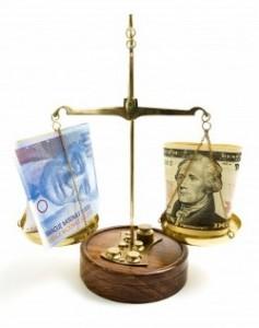 Весы с долларом и евро
