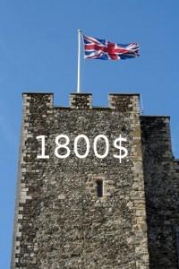 Крепостная башня с английским флагом