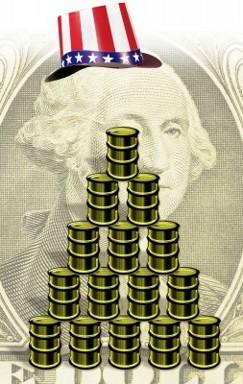 Бочки нефти на фоне доллара
