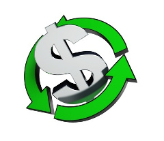 знак  доллара и стрелки вокруг него