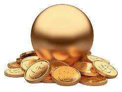 золотой шар и монеты со знаком доллара